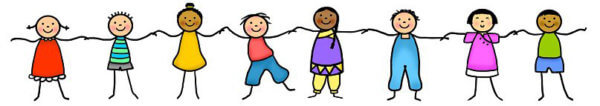 Stick figure kids holding hands